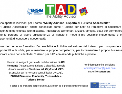 """Aperte Iscrizioni Corso """"Ability Advisor – Esperto di Turismo Accessibile"""""""